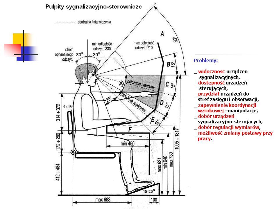 Problemy: _ widoczność urządzeń sygnalizacyjnych, _ dostępność urządzeń sterujących, _ przydział urządzeń do stref zasięgu i obserwacji, _ zapewnienie koordynacji wzrokowej –manipulacje, _ dobór urządzeń sygnalizacyjno-sterujących, _ dobór regulacji wymiarów, _ możliwość zmiany postawy przy pracy.