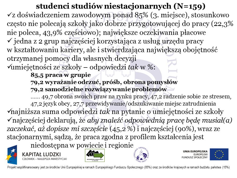 Projekt współfinansowany jest ze środków Unii Europejskiej w ramach Europejskiego Funduszu Społecznego (85%) oraz ze środków krajowych w ramach budżetu państwa (15%) studenci studiów niestacjonarnych (N=159) z doświadczeniem zawodowym ponad 85% (3.