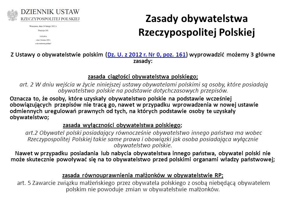 Zasady obywatelstwa Rzeczypospolitej Polskiej Z Ustawy o obywatelstwie polskim (Dz.