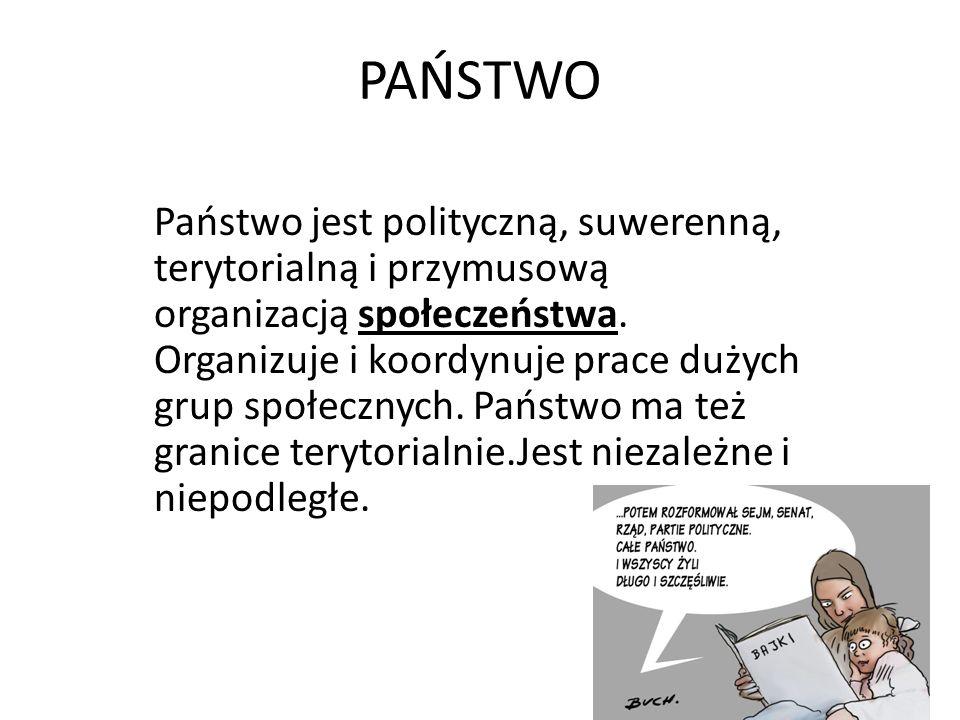 PAŃSTWO Państwo jest polityczną, suwerenną, terytorialną i przymusową organizacją społeczeństwa.