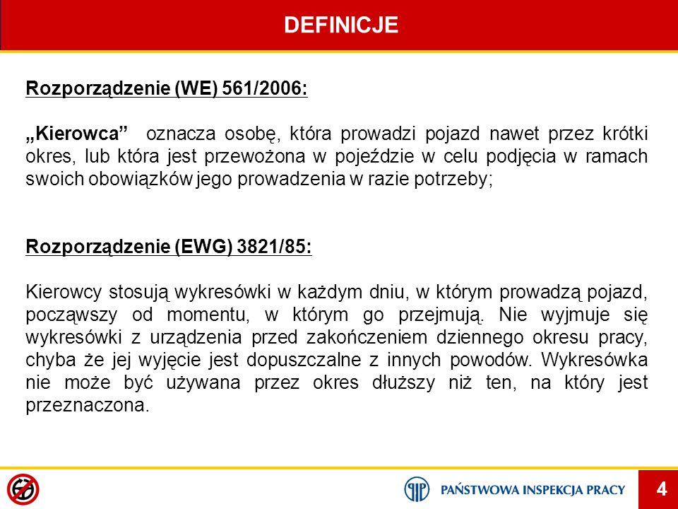 5 DEFINICJE Rozporządzenie (WE) 561/2006: Stosowane do przewozu wyłącznie na terytorium wspólnoty oraz pomiędzy Wspólnotą, Szwajcarią i państwami będącymi stronami umowy o Europejskim Obszarze Gospodarczym.