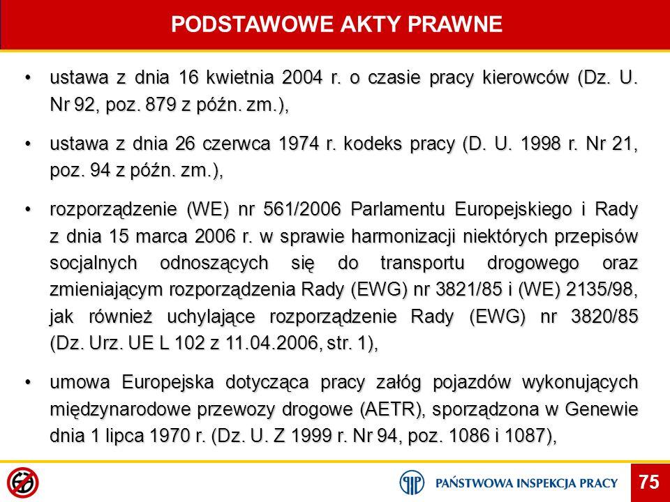75 PODSTAWOWE AKTY PRAWNE ustawa z dnia 16 kwietnia 2004 r. o czasie pracy kierowców (Dz. U. Nr 92, poz. 879 z późn. zm.),ustawa z dnia 16 kwietnia 20