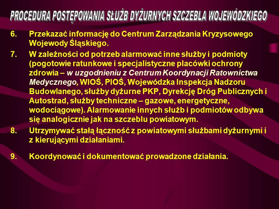6.Przekazać informację do Centrum Zarządzania Kryzysowego Wojewody Śląskiego. 7.W zależności od potrzeb alarmować inne służby i podmioty (pogotowie ra