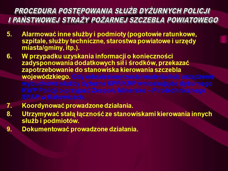 5.Alarmować inne służby i podmioty (pogotowie ratunkowe, szpitale, służby techniczne, starostwa powiatowe i urzędy miasta/gminy, itp.).
