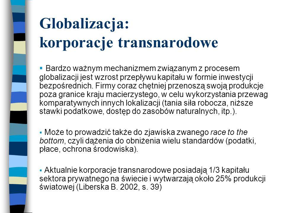 Globalizacja: korporacje transnarodowe  Bardzo ważnym mechanizmem związanym z procesem globalizacji jest wzrost przepływu kapitału w formie inwestycji bezpośrednich.