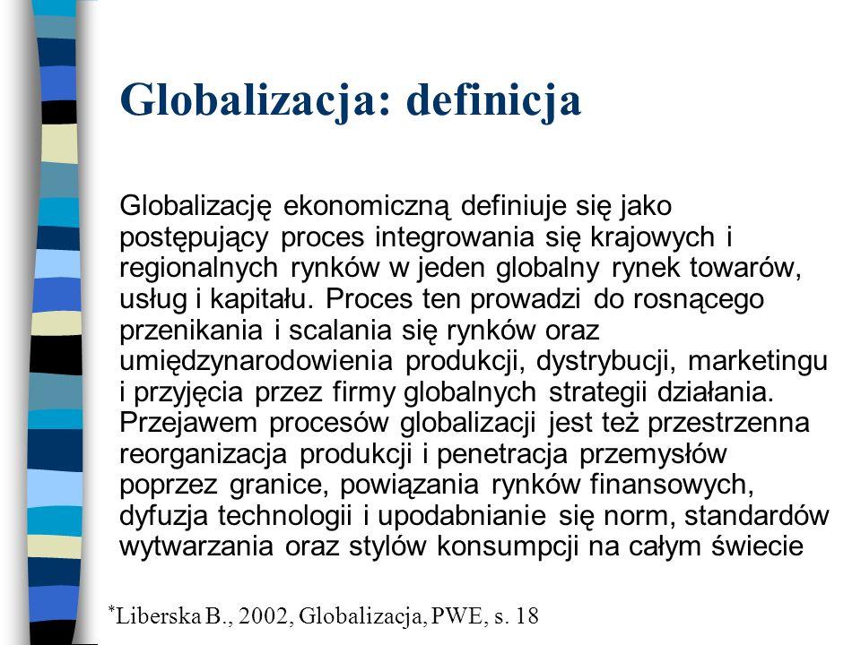 Globalizacja: definicja Globalizację ekonomiczną definiuje się jako postępujący proces integrowania się krajowych i regionalnych rynków w jeden globalny rynek towarów, usług i kapitału.