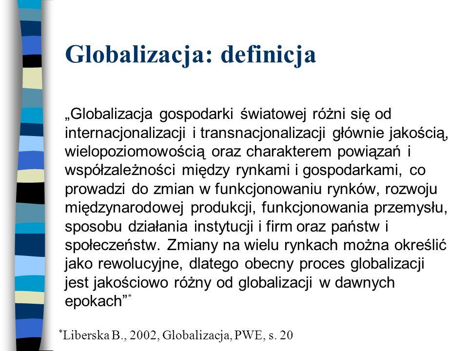 Globalizacja: rynek dóbr  Globalizacja zmieniła warunki konkurencji na krajowym rynku dóbr – przedsiębiorstwa nie tylko muszą konkurować z firmami krajowymi, ale także z korporacjami międzynarodowymi.