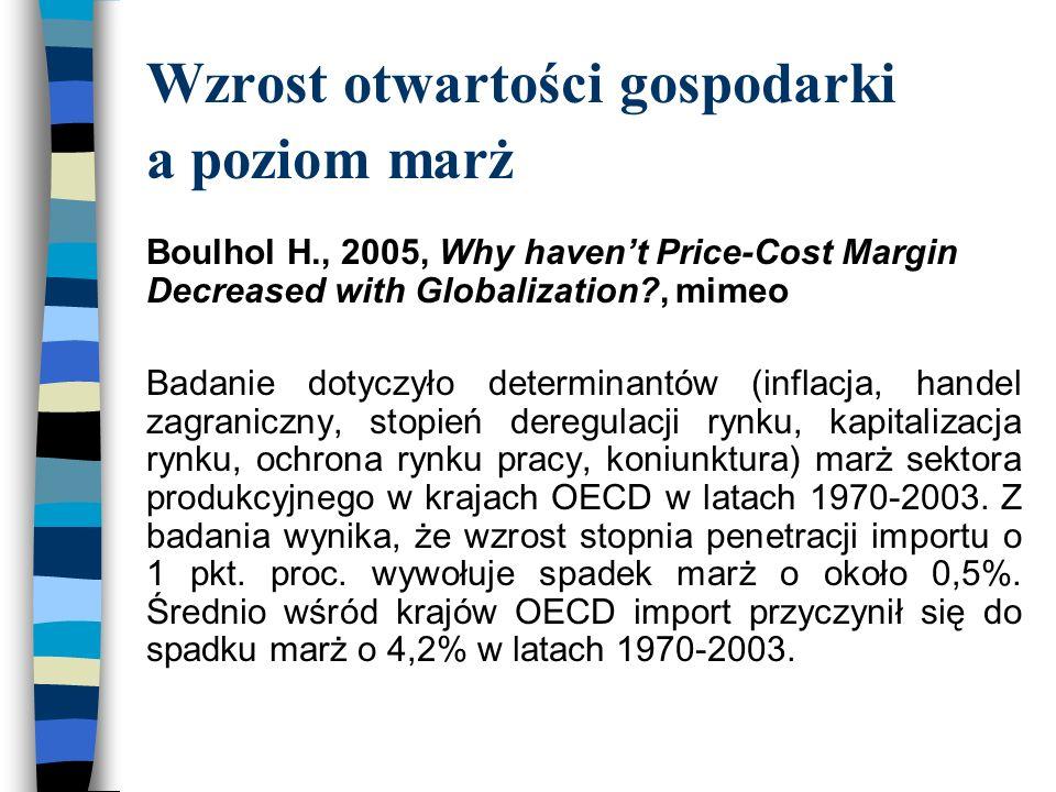 Wzrost otwartości gospodarki a poziom marż Boulhol H., 2005, Why haven't Price-Cost Margin Decreased with Globalization?, mimeo Badanie dotyczyło determinantów (inflacja, handel zagraniczny, stopień deregulacji rynku, kapitalizacja rynku, ochrona rynku pracy, koniunktura) marż sektora produkcyjnego w krajach OECD w latach 1970-2003.
