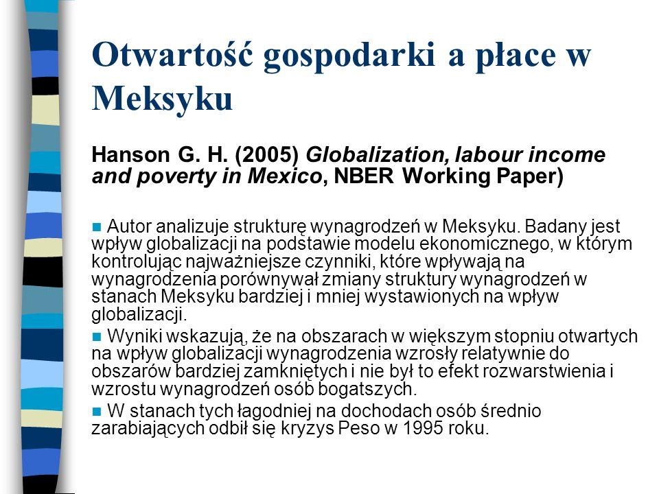 Otwartość gospodarki a płace w Meksyku Hanson G. H.