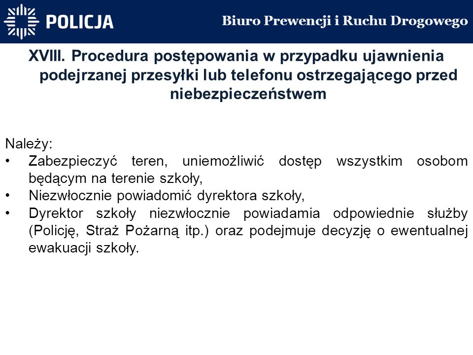 Biuro Prewencji i Ruchu Drogowego XVIII.