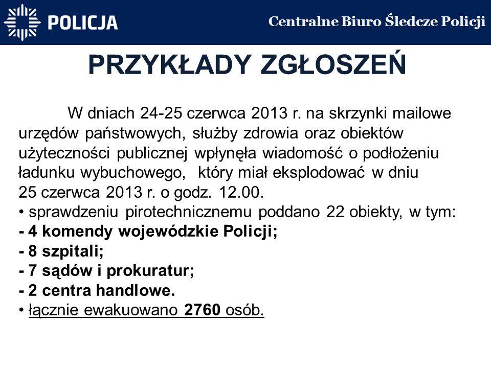 Centralne Biuro Śledcze Policji PRZYKŁADY ZGŁOSZEŃ W dniach 24-25 czerwca 2013 r.