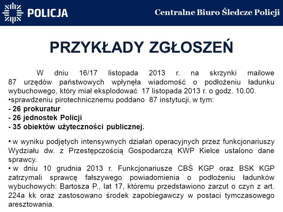 Centralne Biuro Śledcze Policji PRZYKŁADY ZGŁOSZEŃ W dniu 16/17 listopada 2013 r.