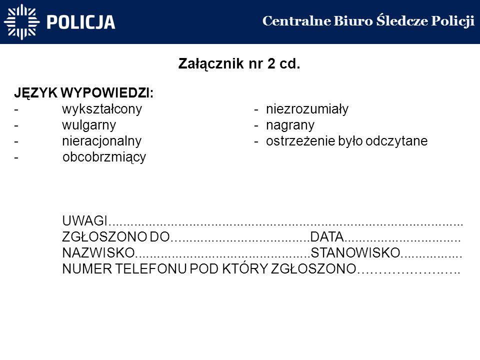 Centralne Biuro Śledcze Policji Załącznik nr 2 cd.