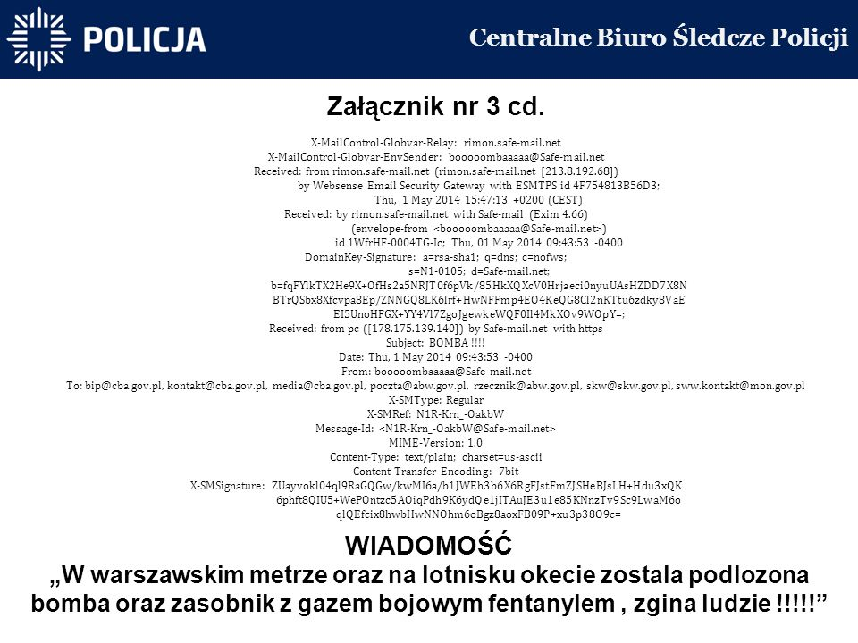 Centralne Biuro Śledcze Policji Załącznik nr 3 cd.