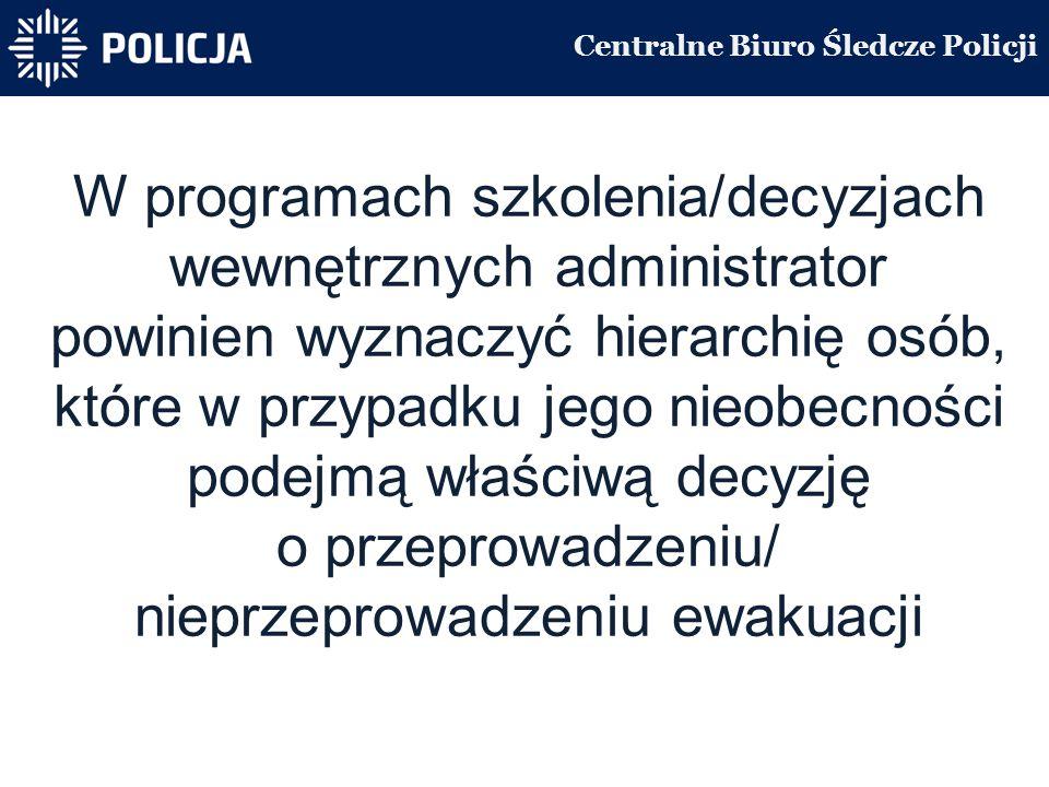 Centralne Biuro Śledcze Policji W programach szkolenia/decyzjach wewnętrznych administrator powinien wyznaczyć hierarchię osób, które w przypadku jego nieobecności podejmą właściwą decyzję o przeprowadzeniu/ nieprzeprowadzeniu ewakuacji
