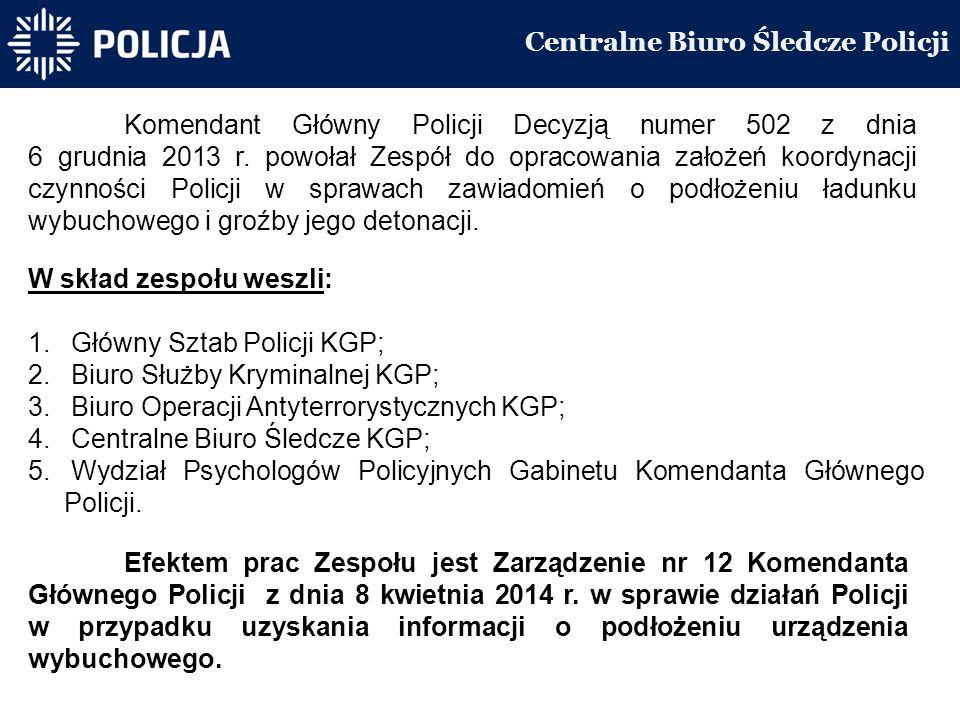 Centralne Biuro Śledcze Policji Komendant Główny Policji Decyzją numer 502 z dnia 6 grudnia 2013 r.