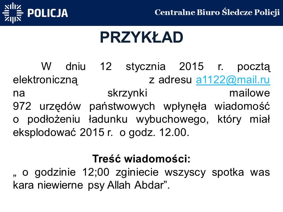 Centralne Biuro Śledcze Policji PRZYKŁAD W dniu 12 stycznia 2015 r.