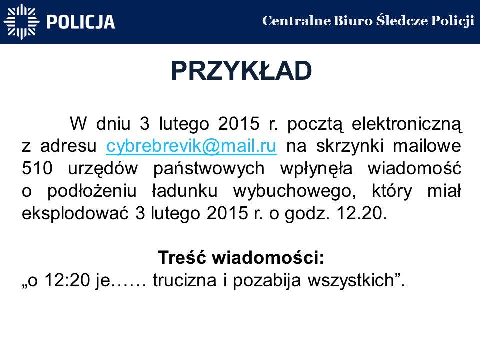 Centralne Biuro Śledcze Policji PRZYKŁAD W dniu 3 lutego 2015 r.