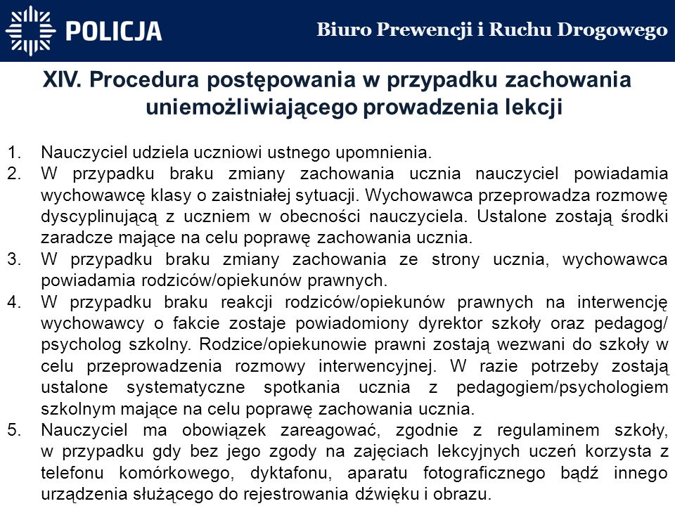 Biuro Prewencji i Ruchu Drogowego XIV.