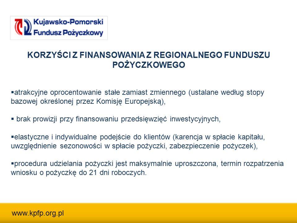 KORZYŚCI Z FINANSOWANIA Z REGIONALNEGO FUNDUSZU POŻYCZKOWEGO  atrakcyjne oprocentowanie stałe zamiast zmiennego (ustalane według stopy bazowej określonej przez Komisję Europejską),  brak prowizji przy finansowaniu przedsięwzięć inwestycyjnych,  elastyczne i indywidualne podejście do klientów (karencja w spłacie kapitału, uwzględnienie sezonowości w spłacie pożyczki, zabezpieczenie pożyczek),  procedura udzielania pożyczki jest maksymalnie uproszczona, termin rozpatrzenia wniosku o pożyczkę do 21 dni roboczych.