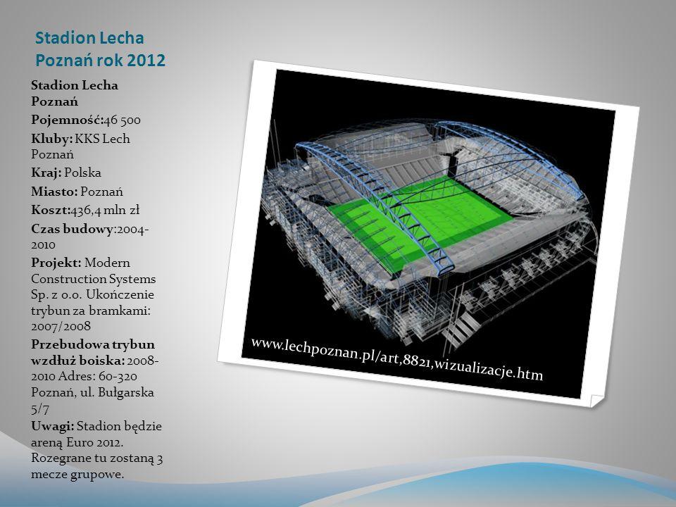 Stadion Lecha Poznań rok 2012 Stadion Lecha Poznań Pojemność:46 500 Kluby: KKS Lech Poznań Kraj: Polska Miasto: Poznań Koszt:436,4 mln zł Czas budowy:2004- 2010 Projekt: Modern Construction Systems Sp.