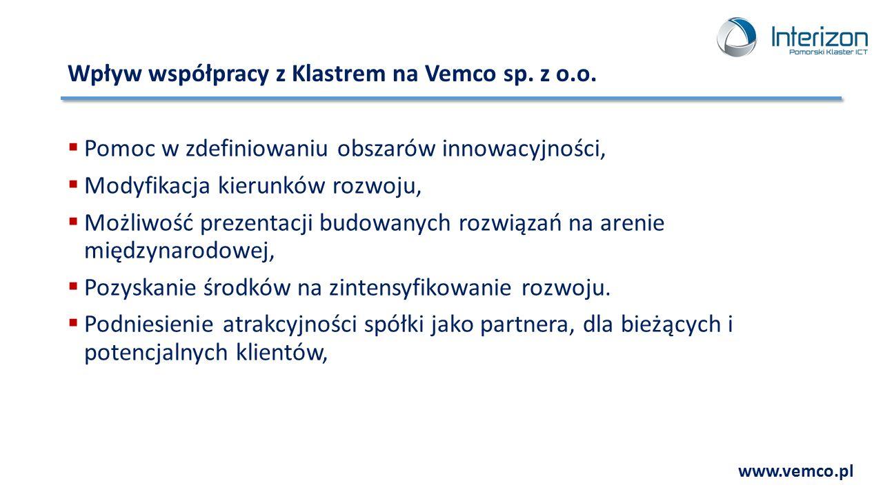 Wpływ współpracy z Klastrem na Vemco sp. z o.o.  Pomoc w zdefiniowaniu obszarów innowacyjności,  Modyfikacja kierunków rozwoju,  Możliwość prezenta