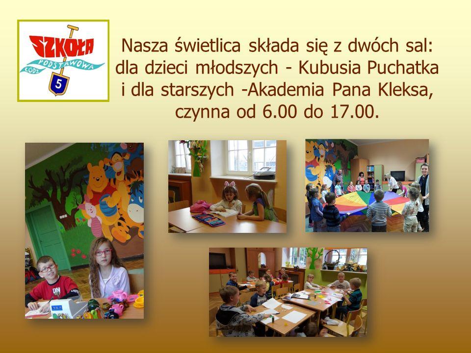 Nasza świetlica składa się z dwóch sal: dla dzieci młodszych - Kubusia Puchatka i dla starszych -Akademia Pana Kleksa, czynna od 6.00 do 17.00.