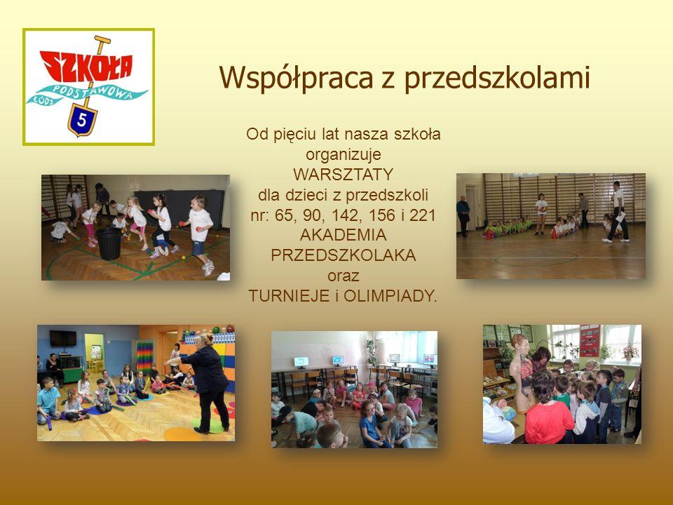 Współpraca z przedszkolami Od pięciu lat nasza szkoła organizuje WARSZTATY dla dzieci z przedszkoli nr: 65, 90, 142, 156 i 221 AKADEMIA PRZEDSZKOLAKA oraz TURNIEJE i OLIMPIADY.