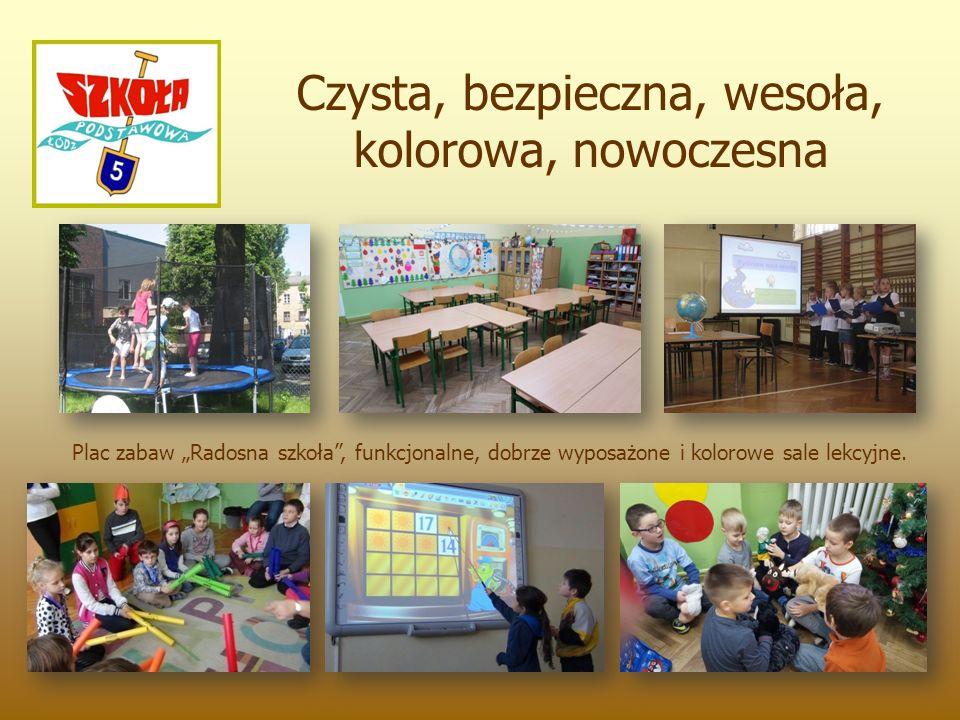 """Czysta, bezpieczna, wesoła, kolorowa, nowoczesna Plac zabaw """"Radosna szkoła , funkcjonalne, dobrze wyposażone i kolorowe sale lekcyjne."""
