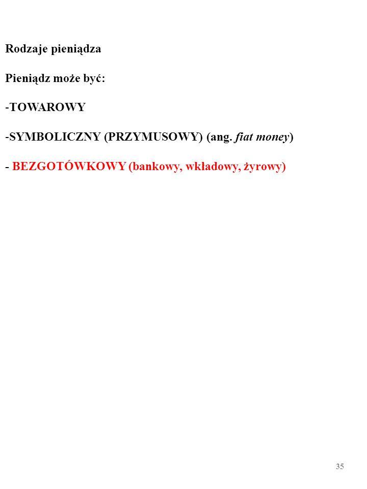 """34 Rodzaje pieniądza Pieniądz może być: -TOWAROWY -SYMBOLICZNY (PRZYMUSOWY) (ang. fiat money) To jest parafraza łacińskiego zdania """"fiat lux"""" (pol. """"n"""