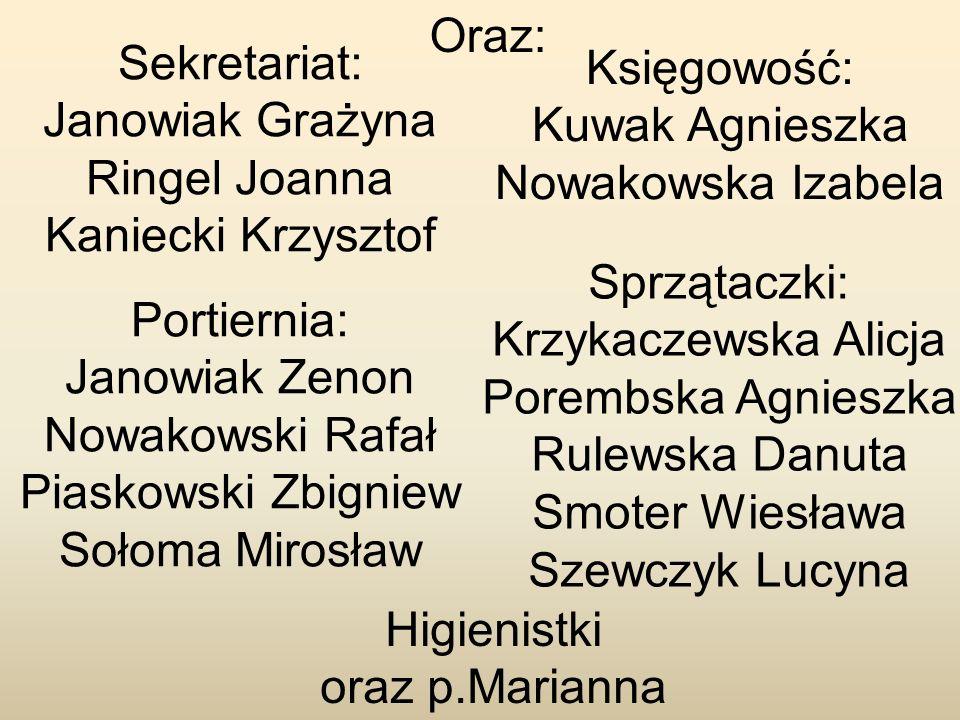 Oraz: Sekretariat: Janowiak Grażyna Ringel Joanna Kaniecki Krzysztof Higienistki oraz p.Marianna Portiernia: Janowiak Zenon Nowakowski Rafał Piaskowsk