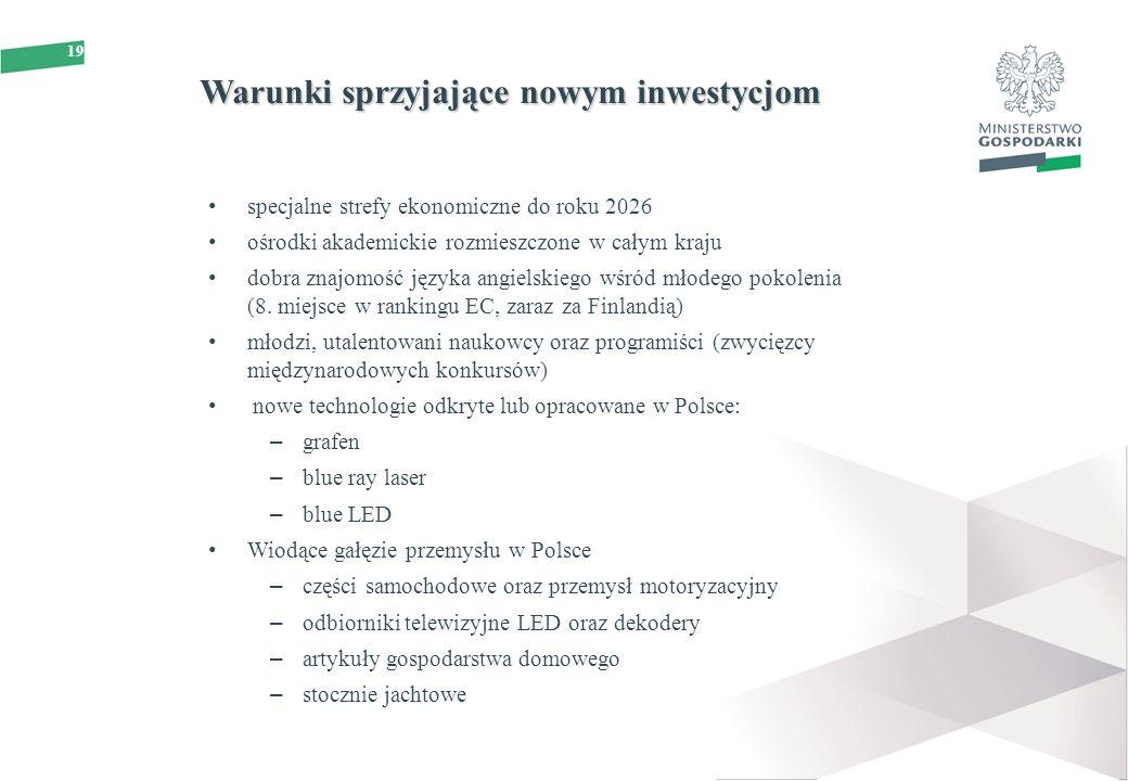 19 Warunki sprzyjające nowym inwestycjom specjalne strefy ekonomiczne do roku 2026 ośrodki akademickie rozmieszczone w całym kraju dobra znajomość jęz