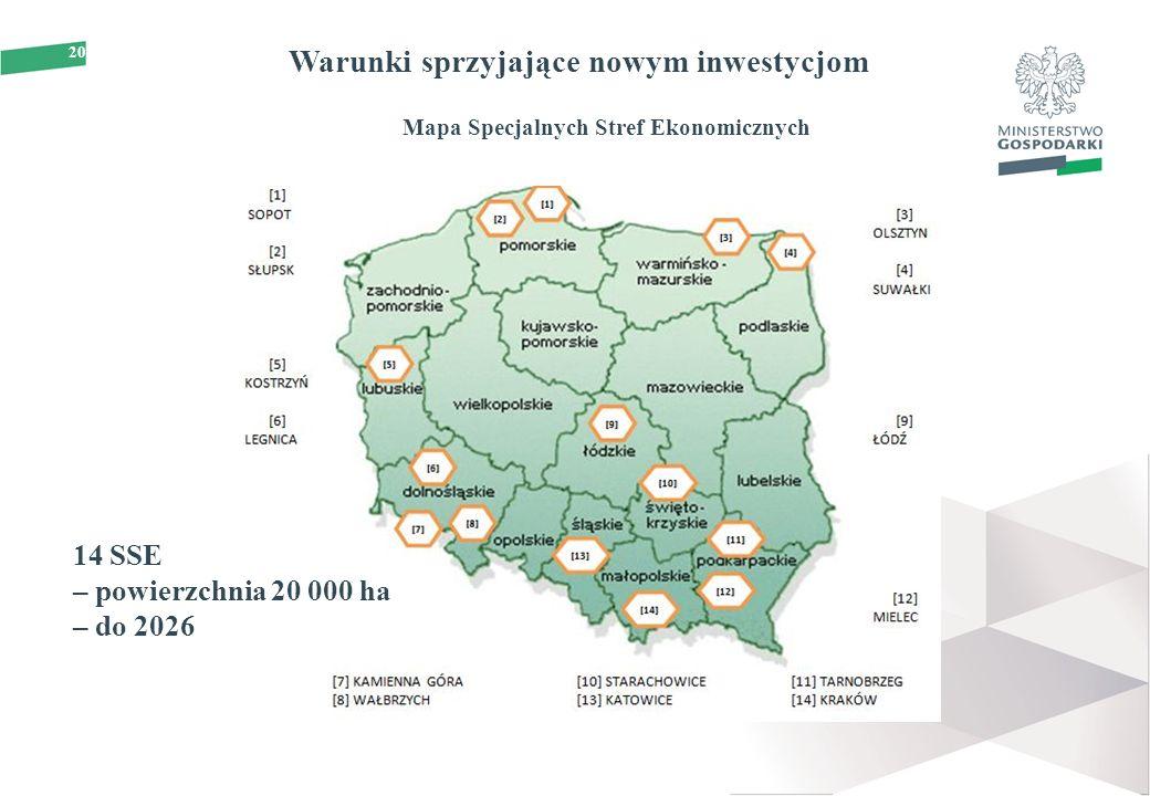 20 Warunki sprzyjające nowym inwestycjom Mapa Specjalnych Stref Ekonomicznych 14 SSE – powierzchnia 20 000 ha – do 2026