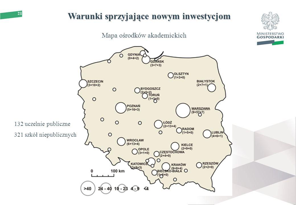 21 Warunki sprzyjające nowym inwestycjom Mapa ośrodków akademickich 132 uczelnie publiczne 321 szkół niepublicznych