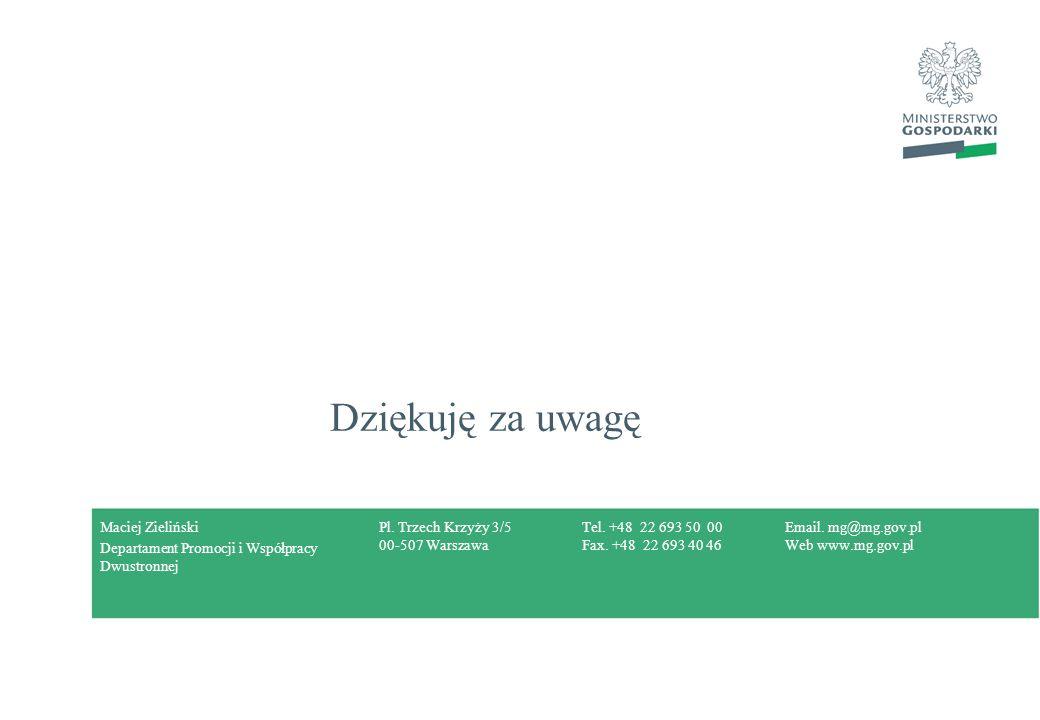 Pl. Trzech Krzyży 3/5 00-507 Warszawa Tel. +48 22 693 50 00 Fax. +48 22 693 40 46 Email. mg@mg.gov.pl Web www.mg.gov.pl Dziękuję za uwagę Maciej Zieli