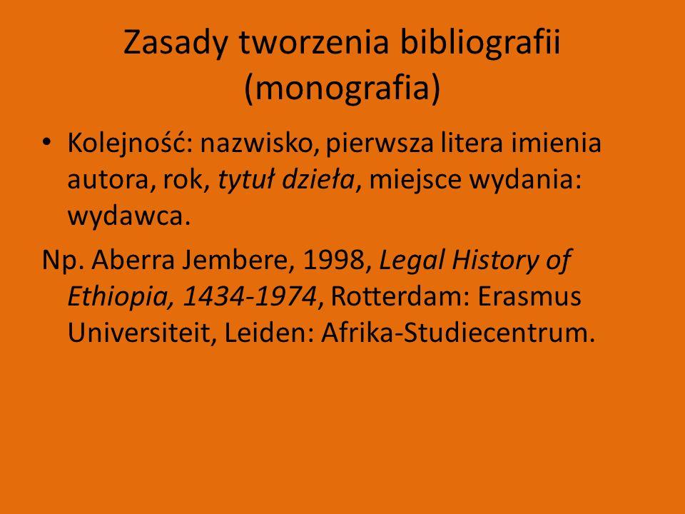 Zasady tworzenia bibliografii (monografia) Kolejność: nazwisko, pierwsza litera imienia autora, rok, tytuł dzieła, miejsce wydania: wydawca.