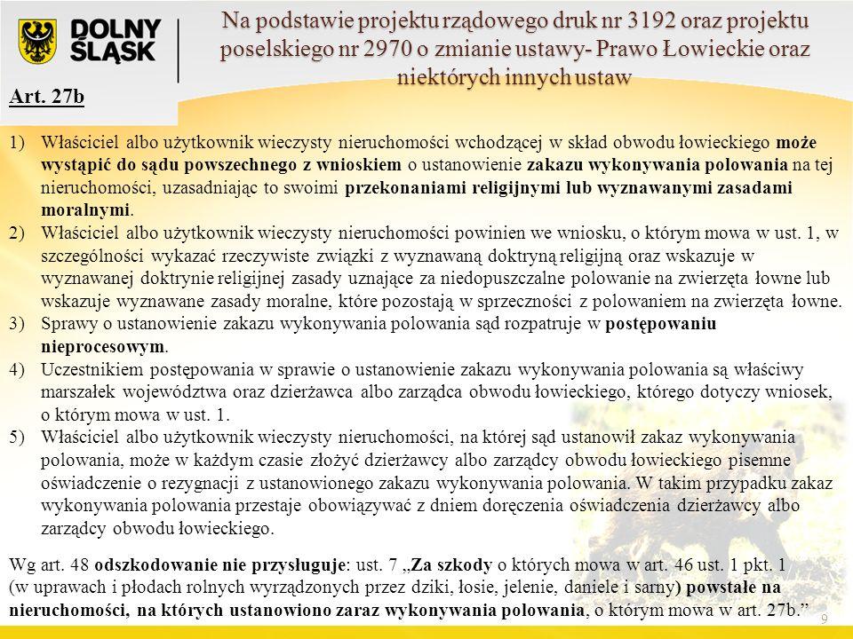 Art. 27b 9 1)Właściciel albo użytkownik wieczysty nieruchomości wchodzącej w skład obwodu łowieckiego może wystąpić do sądu powszechnego z wnioskiem o