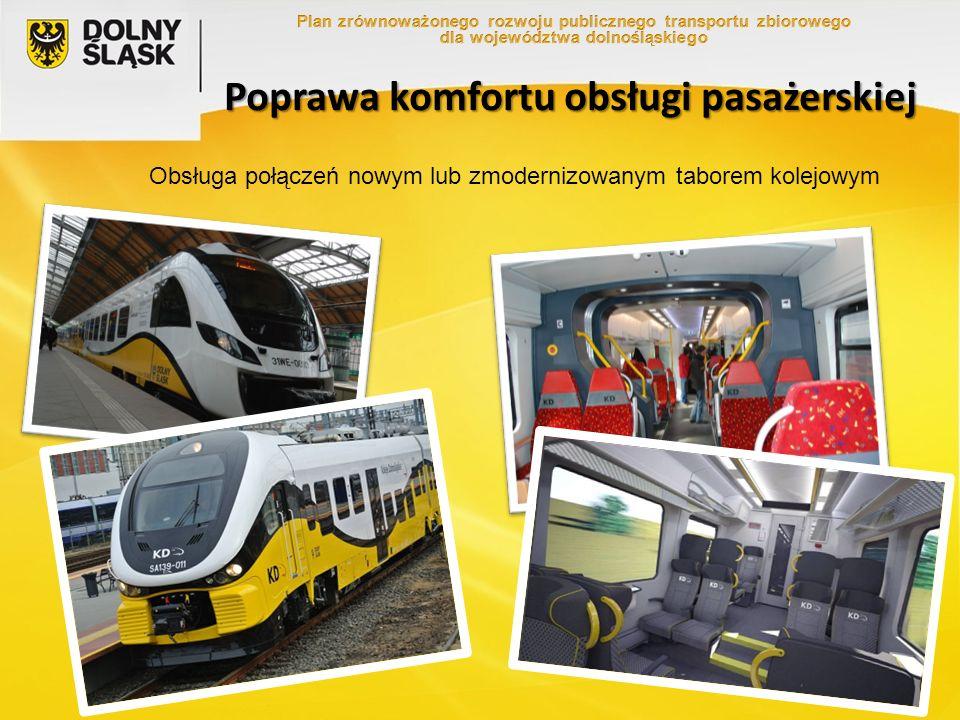 Poprawa komfortu obsługi pasażerskiej Obsługa połączeń nowym lub zmodernizowanym taborem kolejowym