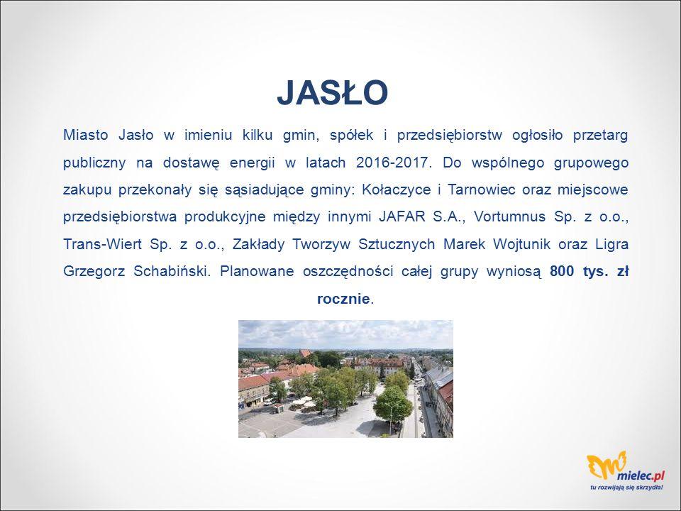 Miasto Jasło w imieniu kilku gmin, spółek i przedsiębiorstw ogłosiło przetarg publiczny na dostawę energii w latach 2016-2017.