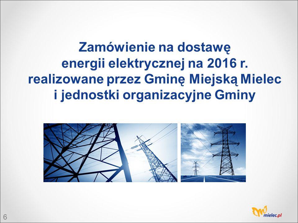 7 Warunki realizacji zamówienia 1) Upoważniony Zamawiający – Gmina Miejska Mielec, 2) Liczba Zamawiających objętych postępowaniem – 27 jednostek, 3) W odpowiednich terminach zostały wypowiedziane umowy zawarte na czas nieokreślony z wcześniejszymi dostawcami energii, 4) Zamawiany wolumen – 12 864,706 MWh z zastrzeżeniem prawa opcji w wysokości 25% wartości zamówienia podstawowego, 5) Każdy Zamawiający w wyniku postępowania zawarł odrębną umowę na czas określony od 01.01.2016 r.