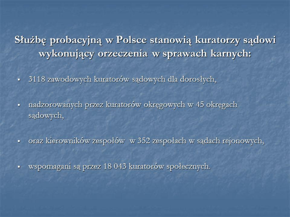 Służbę probacyjną w Polsce stanowią kuratorzy sądowi wykonujący orzeczenia w sprawach karnych:  3118 zawodowych kuratorów sądowych dla dorosłych,  nadzorowanych przez kuratorów okręgowych w 45 okręgach sądowych,  oraz kierowników zespołów w 352 zespołach w sądach rejonowych,  wspomagani są przez 18 043 kuratorów społecznych.