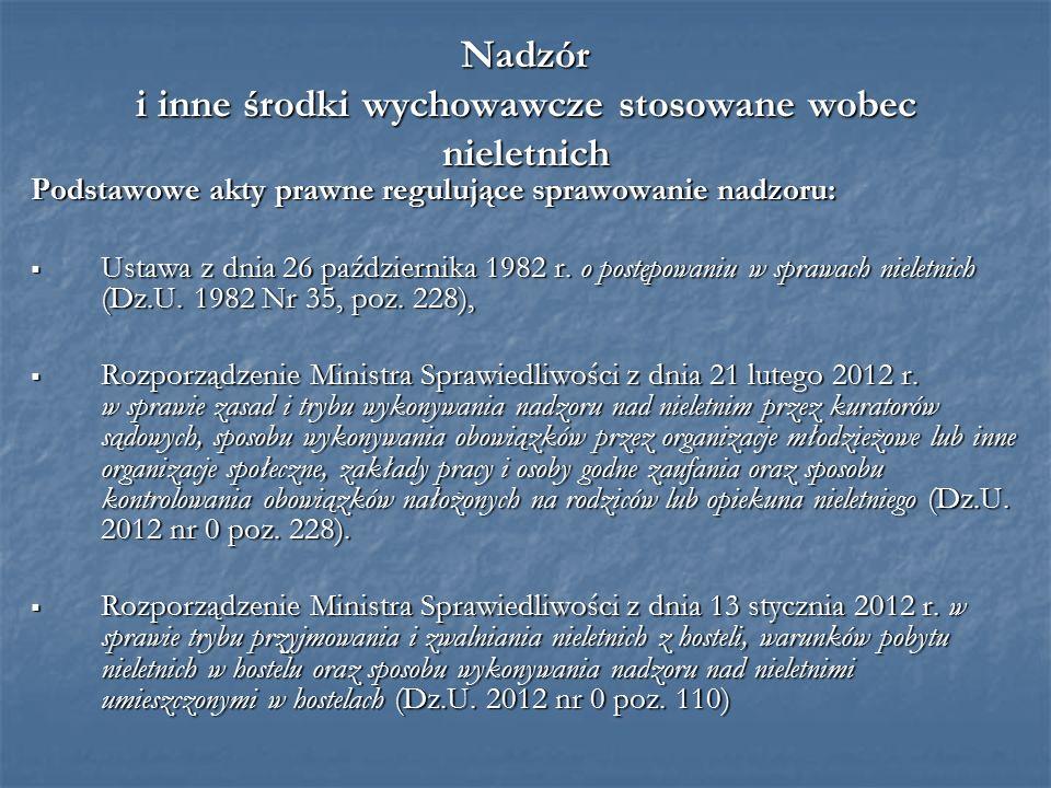 Nadzór i inne środki wychowawcze stosowane wobec nieletnich Podstawowe akty prawne regulujące sprawowanie nadzoru:  Ustawa z dnia 26 października 1982 r.