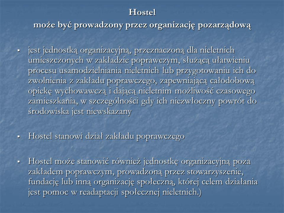 Hostel może być prowadzony przez organizację pozarządową  jest jednostką organizacyjną, przeznaczoną dla nieletnich umieszczonych w zakładzie poprawczym, służącą ułatwieniu procesu usamodzielniania nieletnich lub przygotowaniu ich do zwolnienia z zakładu poprawczego, zapewniającą całodobową opiekę wychowawczą i dającą nieletnim możliwość czasowego zamieszkania, w szczególności gdy ich niezwłoczny powrót do środowiska jest niewskazany  Hostel stanowi dział zakładu poprawczego  Hostel może stanowić również jednostkę organizacyjną poza zakładem poprawczym, prowadzoną przez stowarzyszenie, fundację lub inną organizację społeczną, której celem działania jest pomoc w readaptacji społecznej nieletnich.)