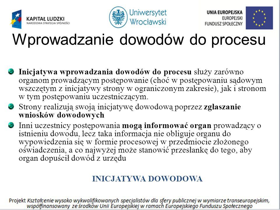 Wprowadzanie dowodów do procesu Inicjatywa wprowadzania dowodów do procesu służy zarówno organom prowadzącym postępowanie (choć w postępowaniu sądowym wszczętym z inicjatywy strony w ograniczonym zakresie), jak i stronom w tym postępowaniu uczestniczącym.