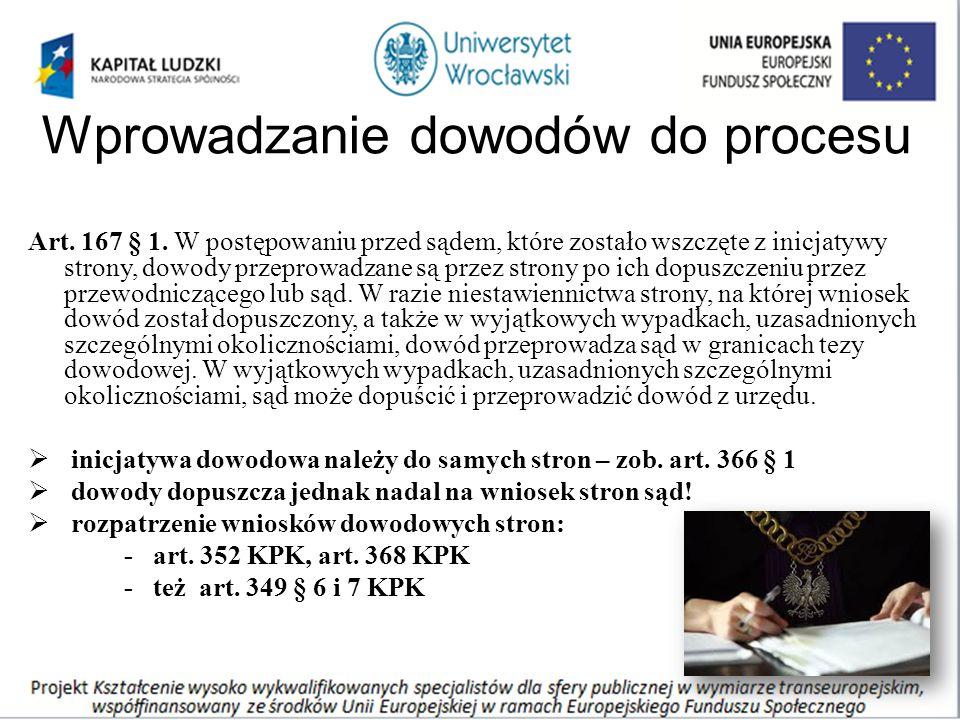 Wprowadzanie dowodów do procesu Art. 167 § 1.