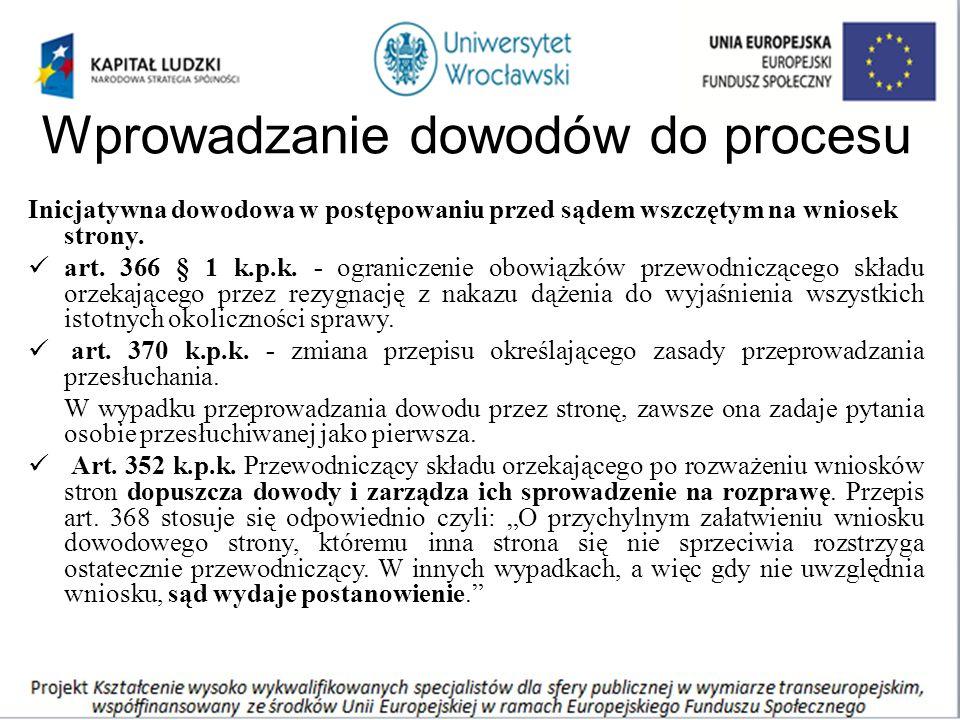 Wprowadzanie dowodów do procesu Inicjatywna dowodowa w postępowaniu przed sądem wszczętym na wniosek strony.