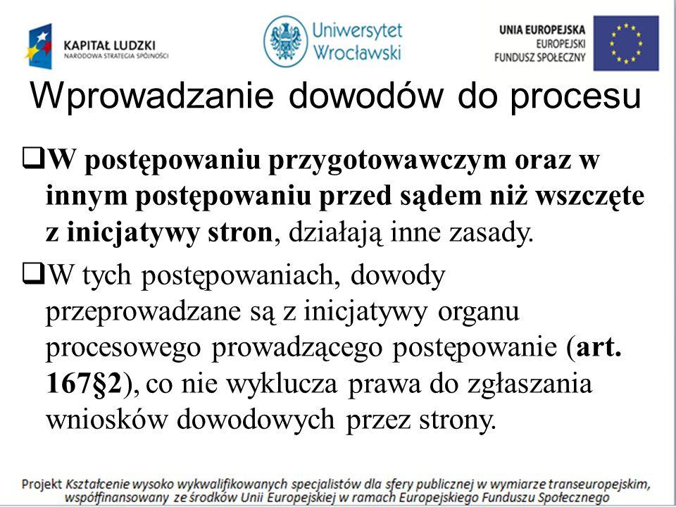 Wprowadzanie dowodów do procesu  W postępowaniu przygotowawczym oraz w innym postępowaniu przed sądem niż wszczęte z inicjatywy stron, działają inne zasady.