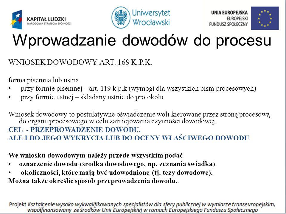 Wprowadzanie dowodów do procesu WNIOSEK DOWODOWY-ART.