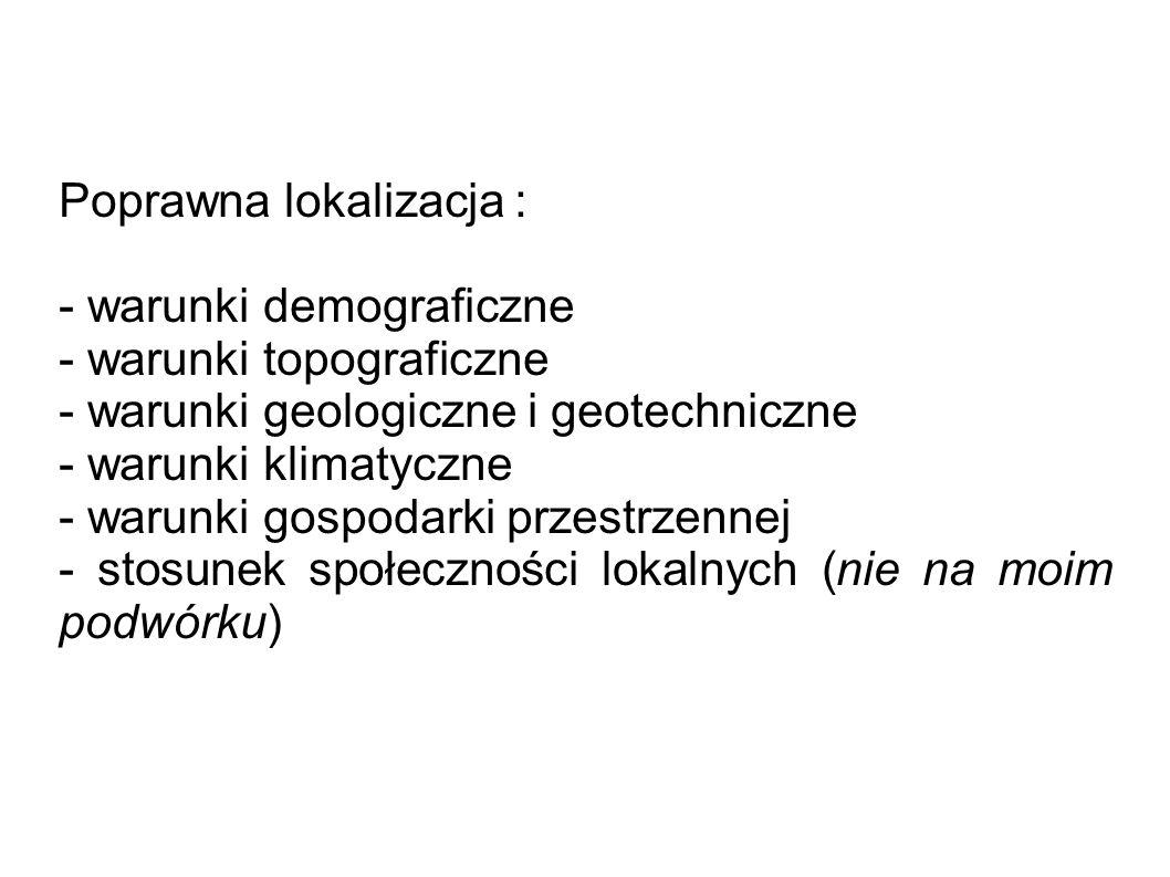 Poprawna lokalizacja : - warunki demograficzne - warunki topograficzne - warunki geologiczne i geotechniczne - warunki klimatyczne - warunki gospodarki przestrzennej - stosunek społeczności lokalnych (nie na moim podwórku)