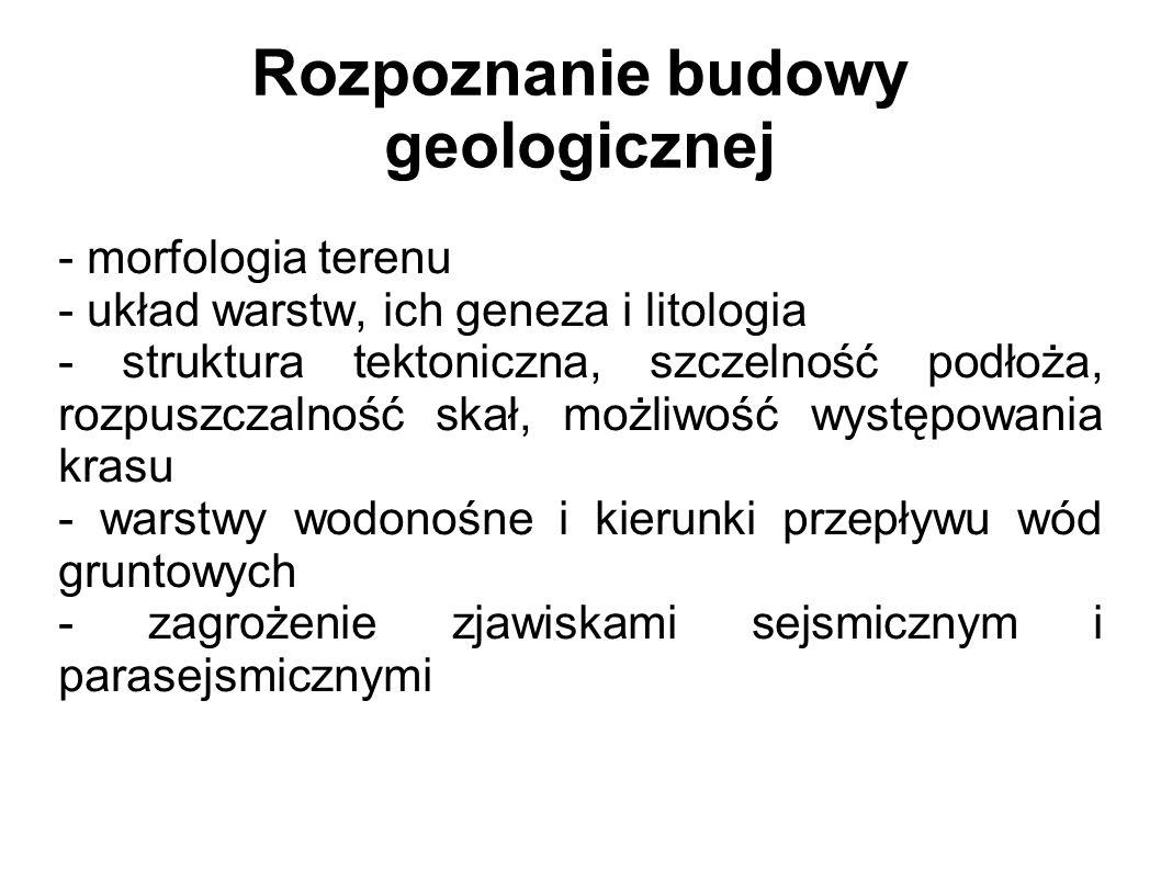 Rozpoznanie budowy geologicznej - morfologia terenu - układ warstw, ich geneza i litologia - struktura tektoniczna, szczelność podłoża, rozpuszczalność skał, możliwość występowania krasu - warstwy wodonośne i kierunki przepływu wód gruntowych - zagrożenie zjawiskami sejsmicznym i parasejsmicznymi